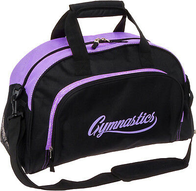 LISH Girl's Gemma Gymnastics Gym Duffel Bag w/ Shoe Compartment (Black/Purple)
