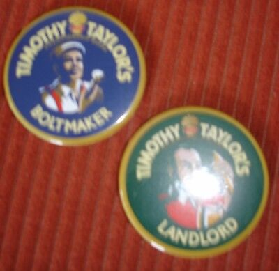 TIMOTHY TAYLOR MAGNETIC BADGES 'LANDLORD' 'BOLTMAKER'SET OF TWO BRAND NEW
