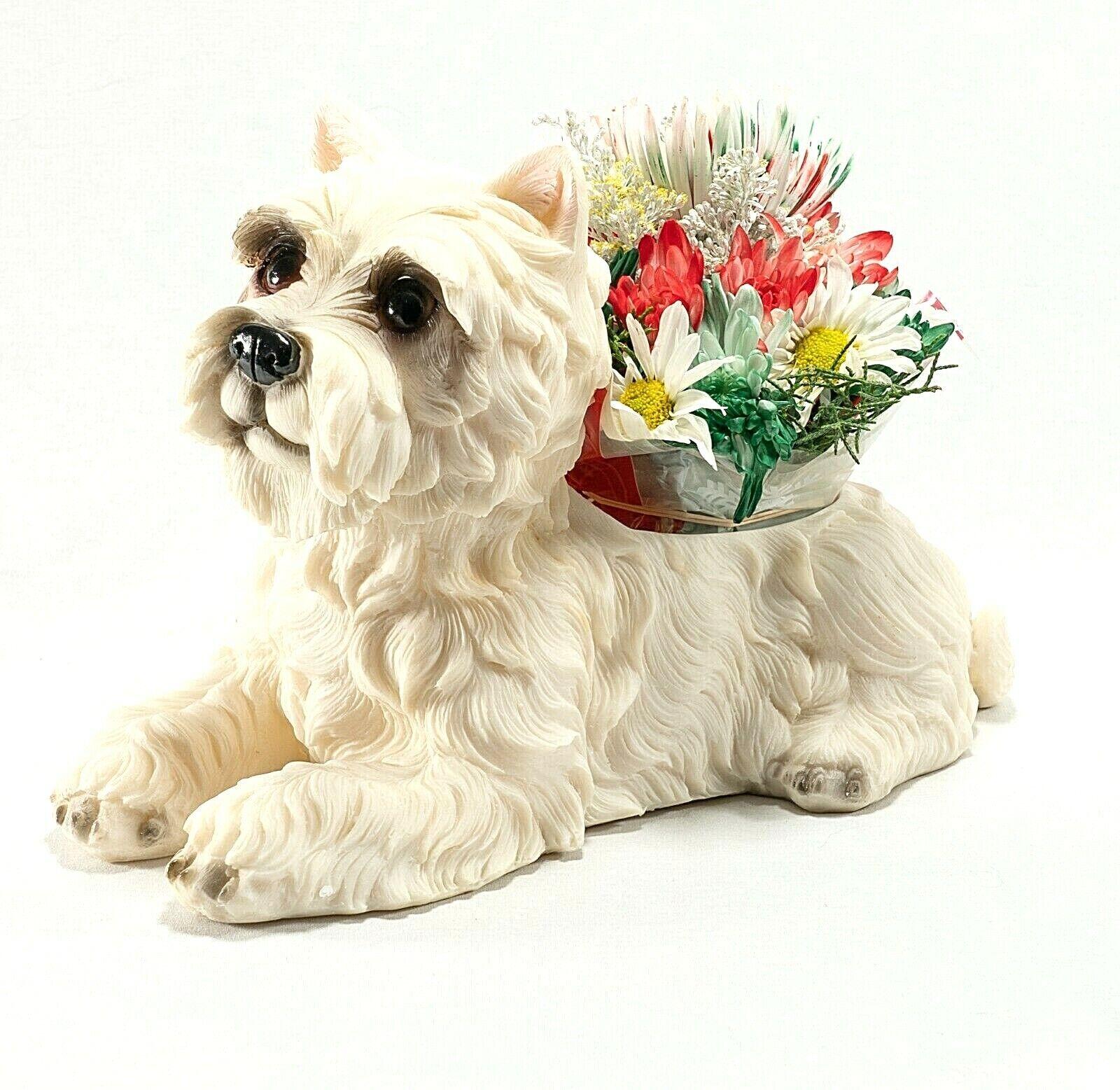 WESTIE Life-Like Planter Dog Hand Painted Poly Stone Beautiful High Quality NIB Animals