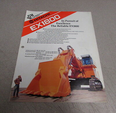 Hitachi Ex1800 Excavator Specifications Brochure Manual Ks-e673