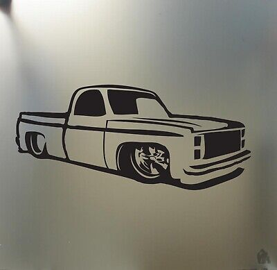 - chevy c10 1973 1987 lowered sticker pickup truck low stance car window decal