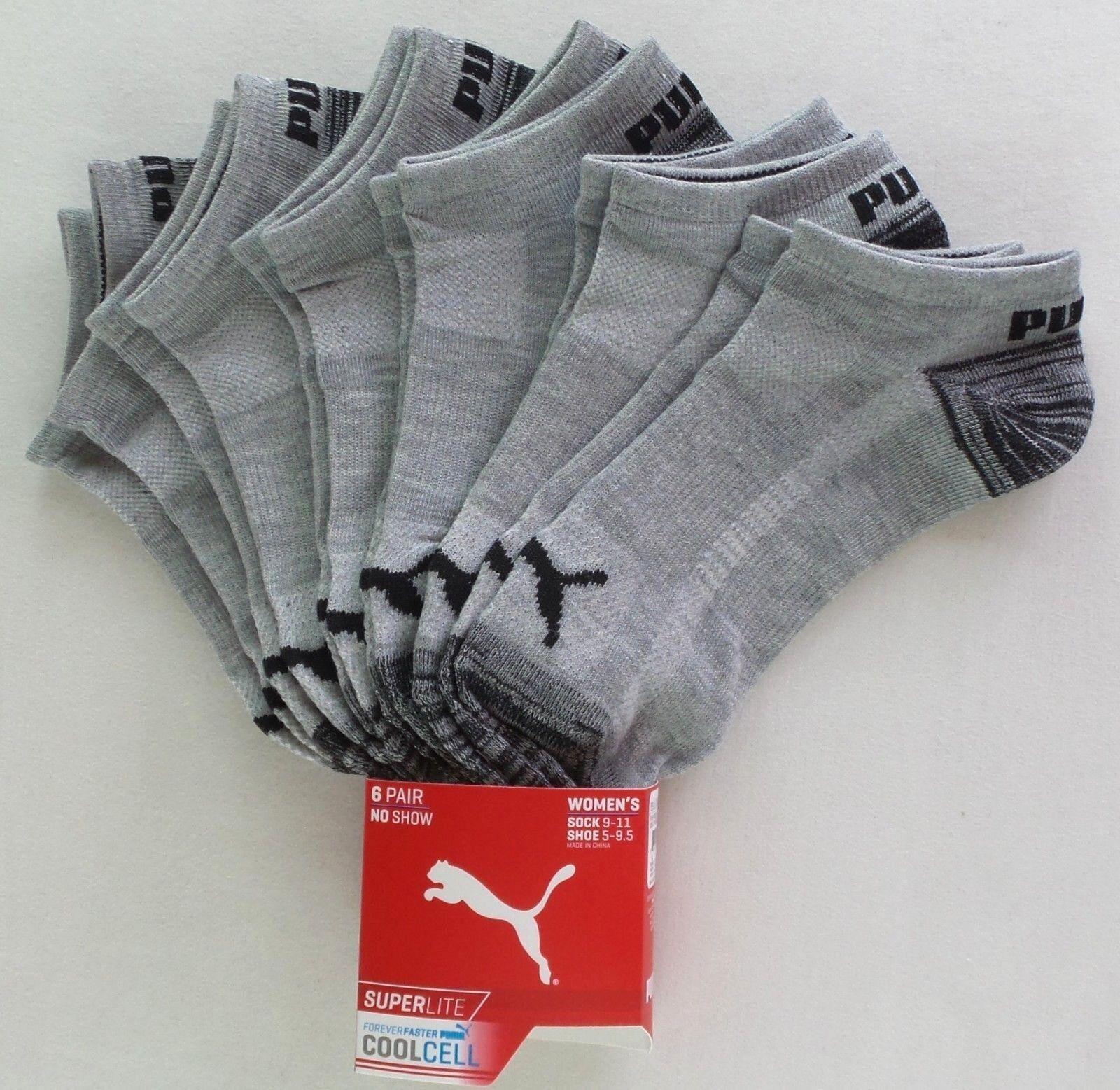 Puma Women's No Show Socks 6 Pack 9-11 Grey Black Athletic S