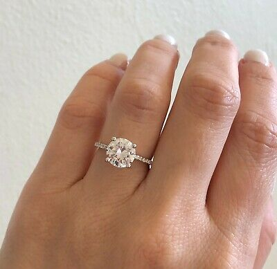 1Ct Round Cut Diamond Four Prong Engagement Solitaire Ring 14K White Gold Finish