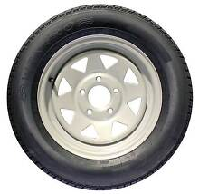 """Silver Sunraysia Rim and Tyre 13"""" HT Holden Wheel Trailer Part Ca Brendale Pine Rivers Area Preview"""