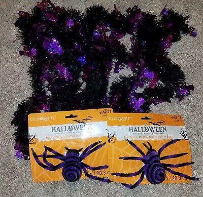 Halloween decorations Purple Spiders and Purple Bat Garland 9ft