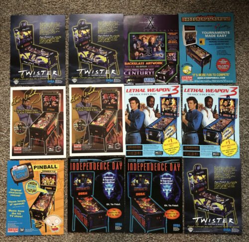7 Pinball Flyers ORIGINALS X-Files - Twister - Elvis - Independence - Family Guy - $3.50