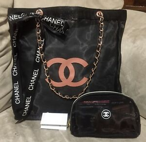 CHANEL VIP MESH TOTE BAG & COSMETIC POUCH