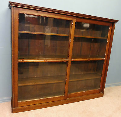 ANTIQUE VICTORIAN GOTHIC  CARVED OAK BOOKCASE WITH SLIDING DOORS
