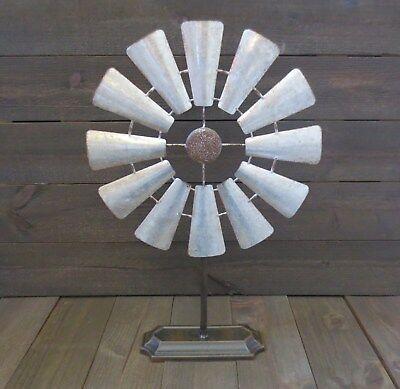 Windmill Table Top Decor Country Farmhouse Galvanized w/Rusty Edge Rustic  ()