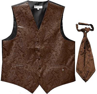 New Men's Paisley Tuxedo Vest Waistcoat & Ascot Cravat Wedding Prom Brown ()