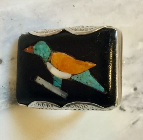 RARE vtg 1930s DELLA CASA APPA ZUNI BIRD RING flush Inlay ICONIC female artist