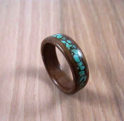 Walnut Bentwood Ring With Turquoise Inlay ~ Mens or Womens ~ Handmade To - Walnut Ring