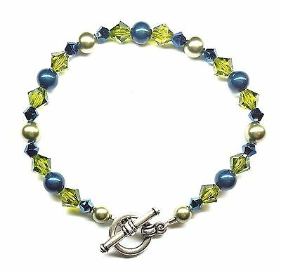 Olivine Austrian Crystal - Metallic Blue Olivine Green Pearl Austrian Crystal Bracelet