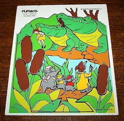 vintage Playskool Walt Disney THE RESCUERS Wooden Tray Puzzle 375-04 19 Pieces