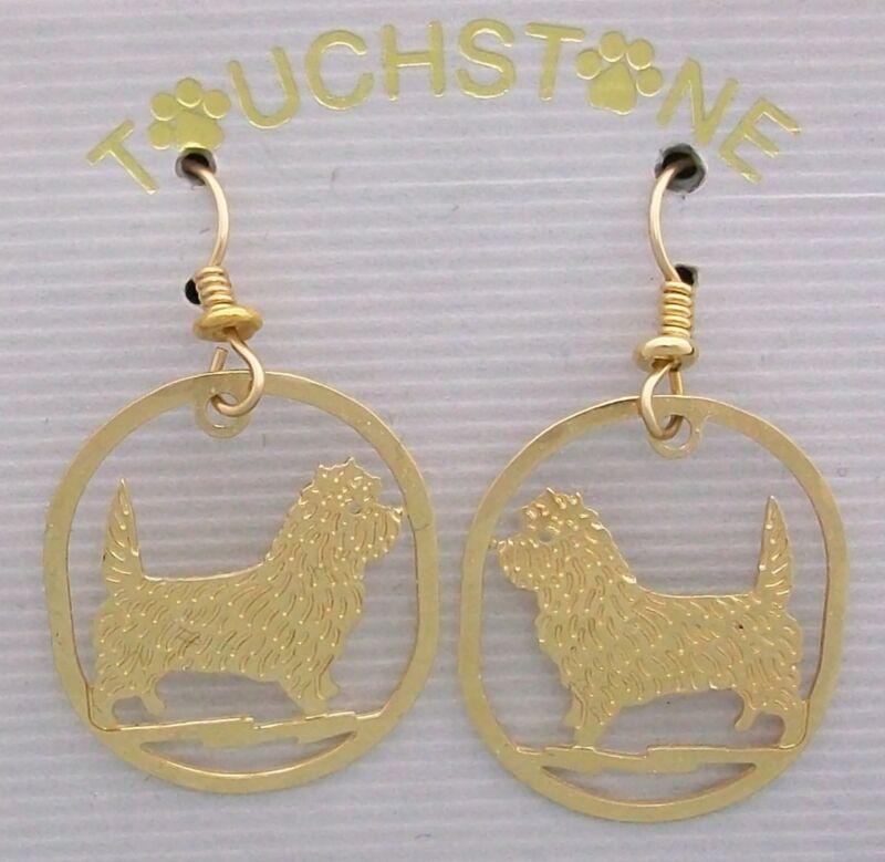 Cairn Terrier Jewelry Gold Dangle Earrings