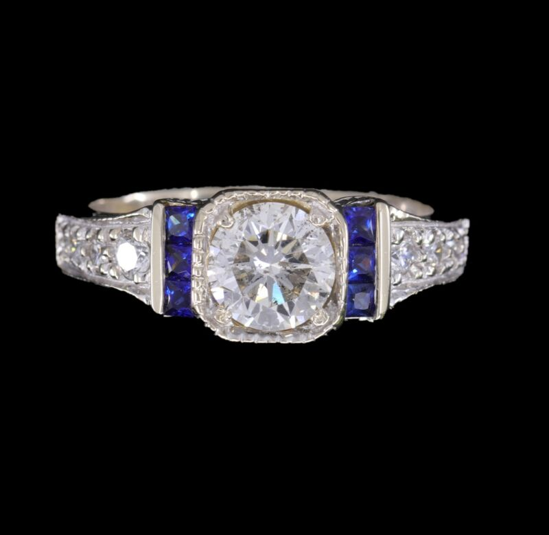 Estate 1.25 Carat Diamond 18K White Gold and Blue Sapphire Engraved Ring
