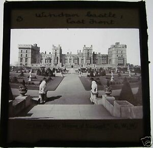 Glass-Magic-Lantern-Slide-WINDSOR-CASTLE-EAST-FRONT-C1900