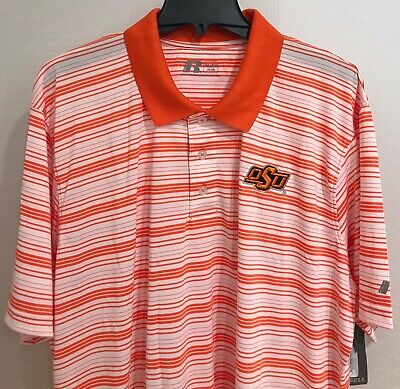 New Oklahoma State Cowboys Men's Polo Shirt White Stripes Embroidered Logo (Oklahoma Striped Shirt)