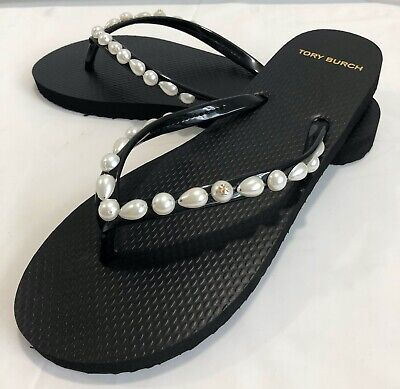 TORY BURCH LADIES MOTHER OF PEARL FLIP FLOPS SHOES  SIZE 9  BLACK  NWT