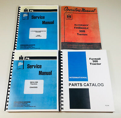 Farmall 300 Tractor Gas Engine Service Parts Operator Manual Shop Set