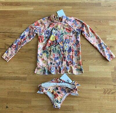 Zimmerman KIDS Little Girls Swimsuit Lovelorn Frill Rashie Pant Set Size 6 - NEW