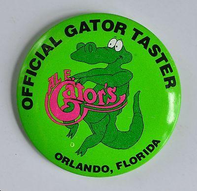 """Official Gator Taster (Al E. Gator's, Orlando, Florida) 2-1/4""""  Pin Back Button"""