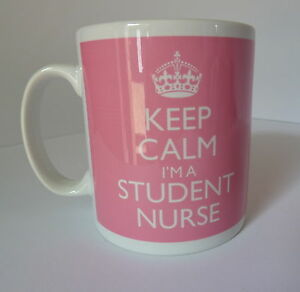 Keep Calm I'm a Student Nurse Gift Mug Cup Carry On Style Pink Nursing Present