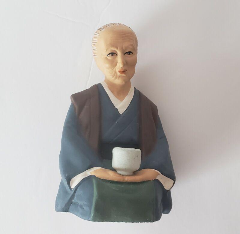 Vtg Tilso Japan Old Woman in Kimono Clay Doll Figurine Style of Hakata Urasaki