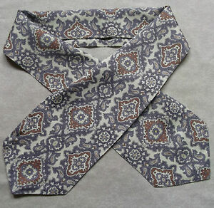 CLASSIC-CRAVAT-VINTAGE-RETRO-MENS-1960S-1970S-MOD-GOODWOOD-ASCOT-PURPLE-CREAM