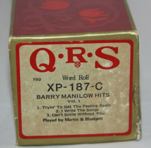 QRS Word Roll Barry Manilow Hits Vol. 1 XP-187 Player Piano Roll 1980