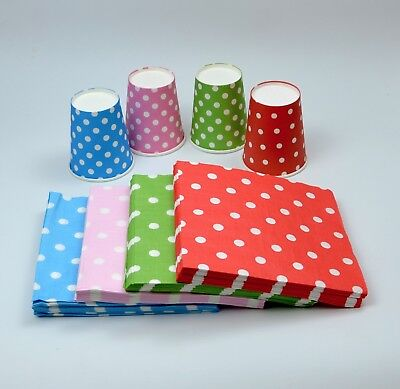 Polka Dot Party Paper Disposable Cup & Napkin Wedding Events Decoration Cheap - Cheap Colored Paper Plates