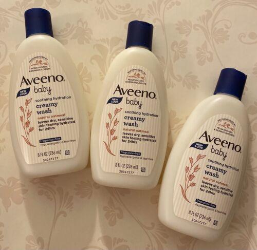 3x Aveeno Baby Creamy Body Wash, Soothing Hydration w Oatmeal, 8 fl oz ea