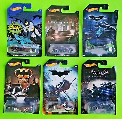 Batman Batmobile Hot Wheels Cars Set 6 piece DC Comics Die-Cast Cars Toys - NEW