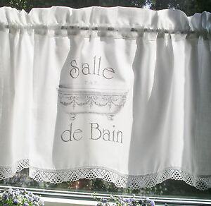 Rideau shabby chic salle de bain disques rideau - Salle de bain campagne chic ...