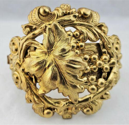 Gold Filled Bangle Bracelet Hinged Repousse & Engraved Grapes Leaves / Vine