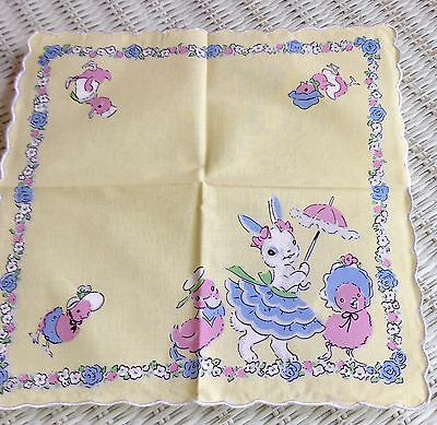 Darling Easter Bunny &  Chick Childs Handkerchief ~ Hankie