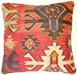 Vintage Turkish wool handwoven kilim cushion cover (60*60cm)