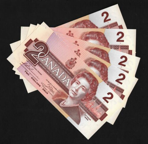 Canada  Bank Notes   1986   $2  lot of 5 consecutive   Uncirulated