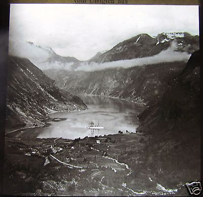 ROSCH Glass Magic lantern slide GEIRANGERFJORD 2 C1900 NORWAY