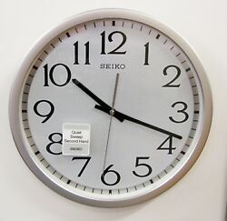SEIKO SILVER-TONE METALLIC  CASE  WALL CLOCK 12.25 WITH QUIET SWEEP QXA711SLH