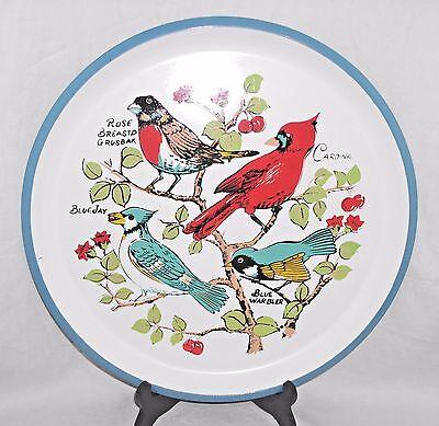 (Vintage Price Imports Japan Round Melamine Bird Tray Cardinal Blue Jay Warbler)