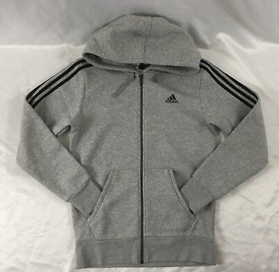 Adidas Men's Essential 3 Stripes Full Zip Hoodie Sweater Gray CF5056 Size M
