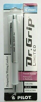 Pilot Dr Grip Limited Ball Point Pen Black Ink Fine 0.7mm - Platinum Silver