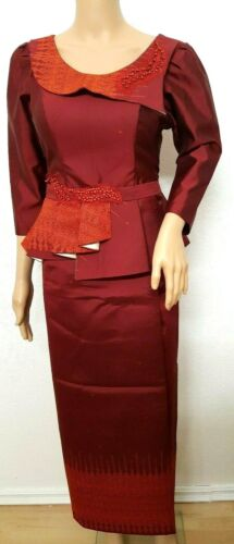 Cambodia Khmer Traditional Out fit Women Size M Burgundy Formal Seing Thai Silk