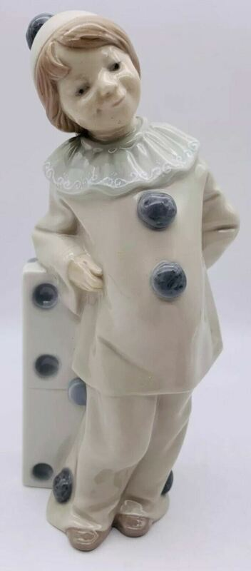 Vintage Lladro Girl with Domino Clown Harlequin Jester 1175 MINT