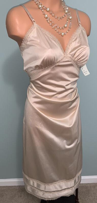 Vtg Shiny Nylon Full Slip Nightgown Nightie Boudoir Pin-up USA 34 36 SEARS NWT