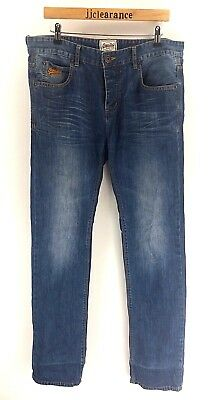 SUPERDRY Mens Jeans W32 L34 Blue Cotton Button Fly Slim