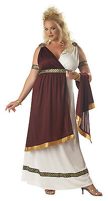 Plus Size Roman Empress Queen Athenian Women's Halloween Costume Set Dress