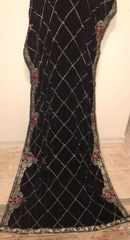 Pakistani Indian  Bollywood Women Party Velvet Embroidery shawl Scarf Wrap Black