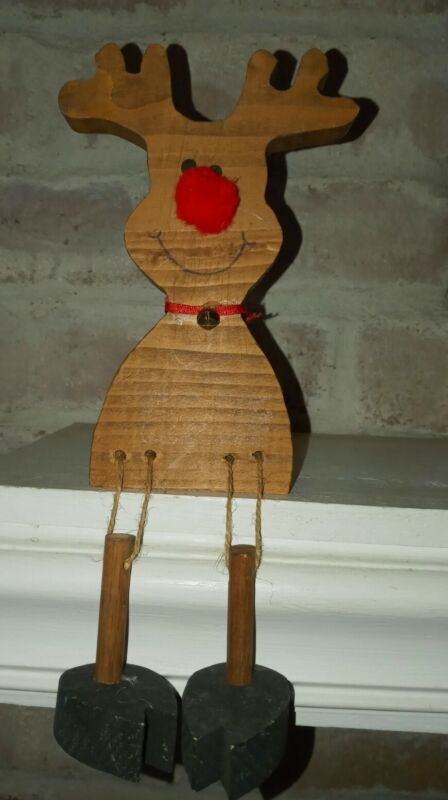 Rudolph The Red Nosed Reindeer Homemade Wooden Mantel Shelf Sitter Christmas